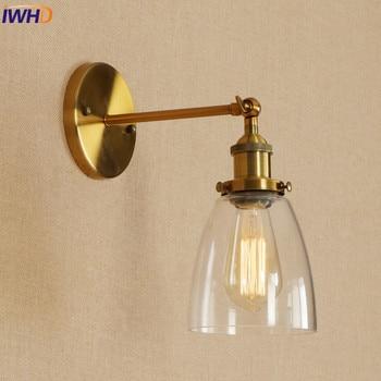 IWHD Edison mur LED luminaires industriels Vintage Loft Style appliques éclairage maison abat jour en verre E27 4 W applique de chevet Lampes murales d'intérieur LED     -