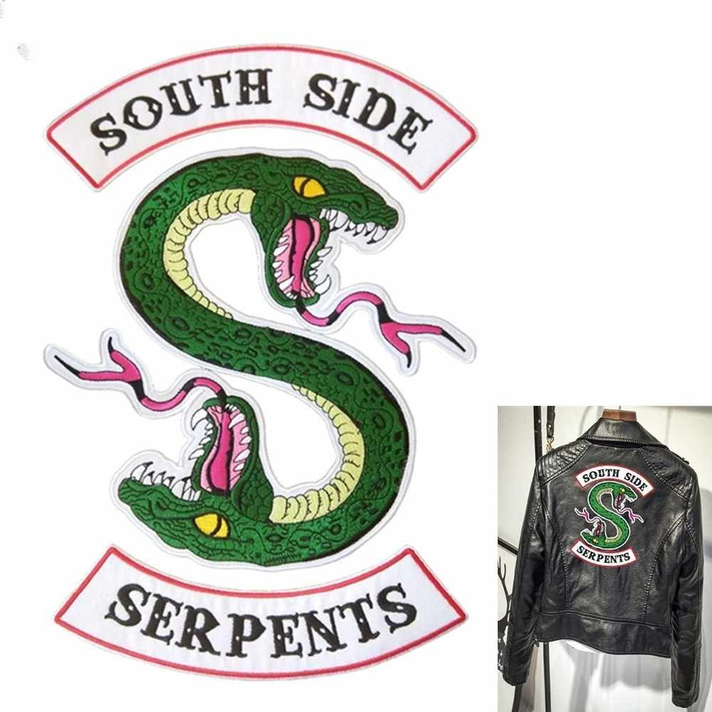 South Side Snake Serpents Riverdale Patch Embroidery Iron On Patches DIY Apparel Chain Bag Strap Accessories Suitcase