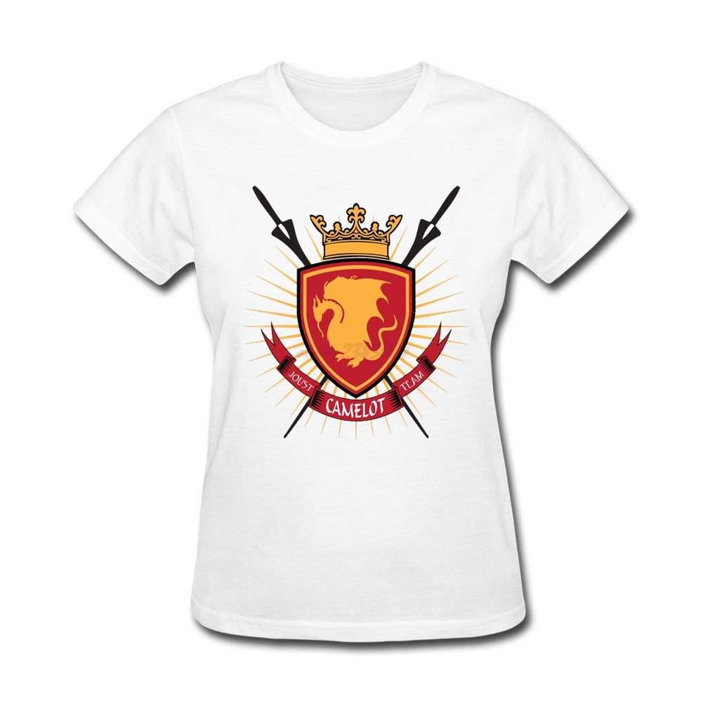Design your own eco-friendly t-shirt - Geek Womens Camelot T Shirts Old Women Organic Cotton Jousting Team Crewneck Short Sleeve Printing Create