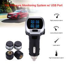 цена на Tire Pressure Monitoring System With USB Port Wireless Car LCD TPMS + 4 Sensor Cigarette Lighter