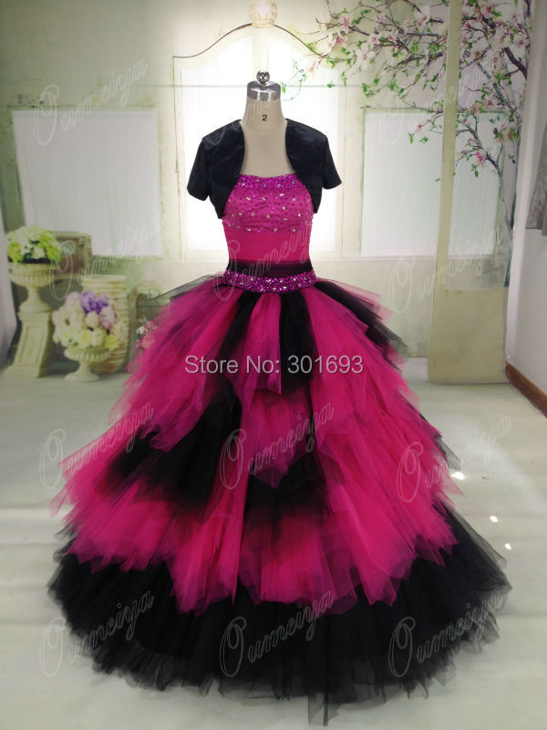 Oumeiya ORW448 Real Pictures Puffy Princess Ball Gown Hot Pink and ...