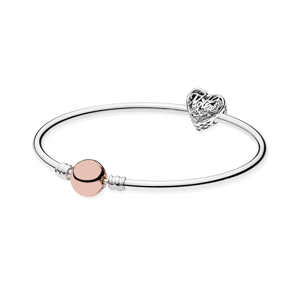 DERMSPEs925 Sterling Silver Beads Mother and Child Love Set Fit DIY Charm Original Bracelet Woman Family Gift 580713 792109CZ