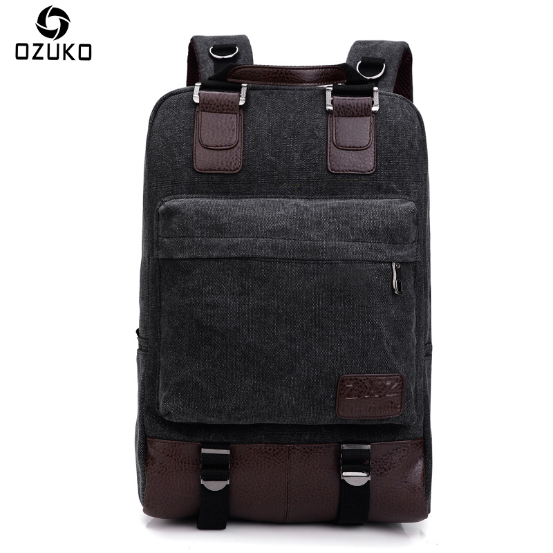 2017 OZUKO New Style Large Capacity Men Canvas Backpacks Vintage Laptop Rucksack Student School Backpacks Casual Travel Mochila hot casual travel men s backpacks cute pet dog printing backpack for men large capacity laptop canvas rucksack mochila escolar