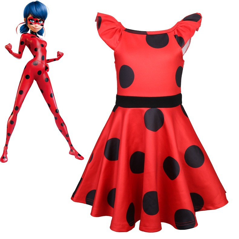 Ladybug Moana Costume Halloween Party Girls Onesie Miraculous Lady bug Cosplay Costume For Girls Summer Party Clothing