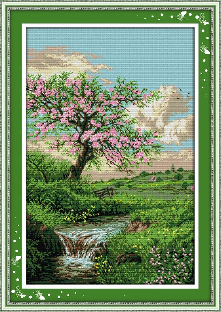 Вышивка пейзаж-весна