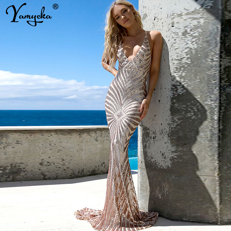 Sexy summer Sequins dress women elegant Backless dress bodycon vintage maxi Bandage dresses Beach Night club party vestidos 2019 in Dresses from Women 39 s Clothing