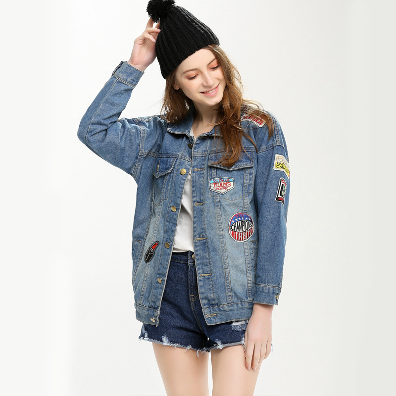 The New Patch Badge Denim Jacket New Large Size Women Loose Coat ...