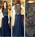 2016 O-neck Tank Style Vestidos Simple Design Dark Blue Evening Dresses Jersey Arabic Dubai Kaftan Formal Party Prom Gowns 328