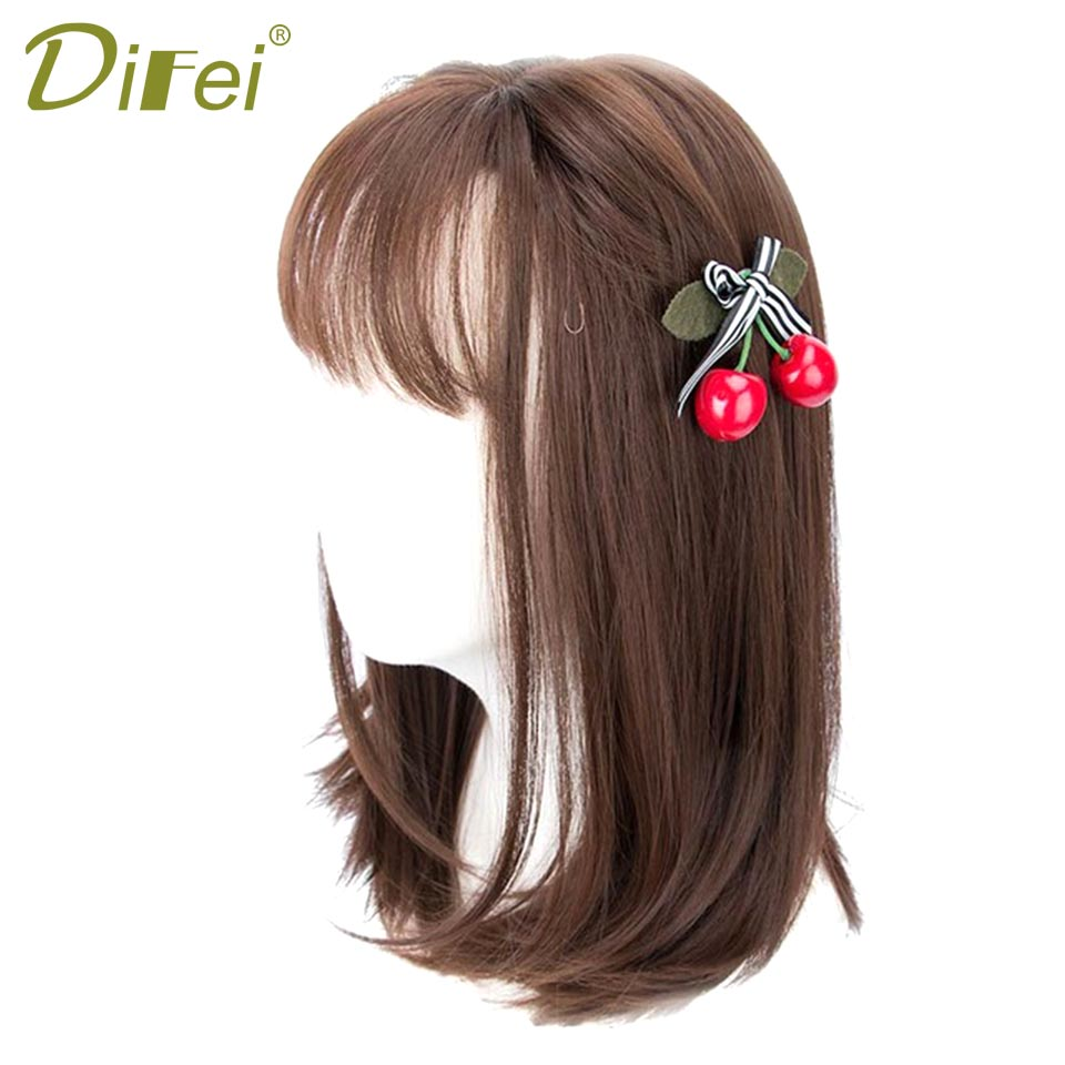DIFEI Brown Bob Hair Wigs For Women Heat Resistant Synthetic Female Wig Natural Looking Hair Pieces 5 Colors Available