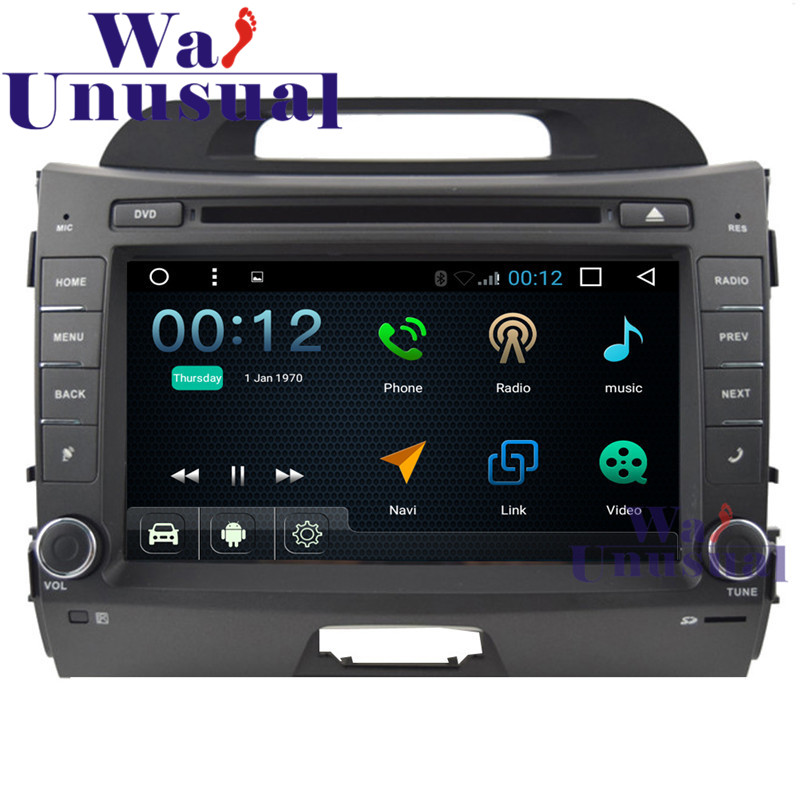 8Android 6.0 Car DVD Player For KIA Sportage 2010- with GPS Navigation Wifi BT DVR Mirror link Quad Core 16G 3G 1024*600 Maps image