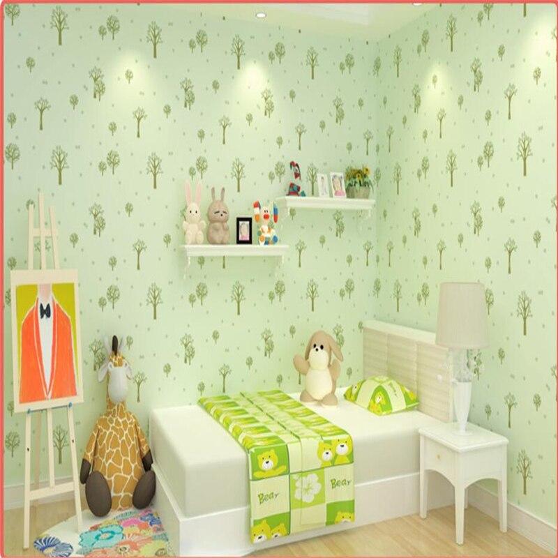 Beibehang Warm Pink Children S Room Wallpaper Bedroom Non Woven Green Cute Little Cartoon In Wallpapers From Home