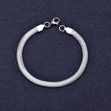 Низкая цена, 6 мм, нержавеющая сталь, плоская цепочка-змейка, браслет, модные украшения для мужчин и женщин, рождественские подарки