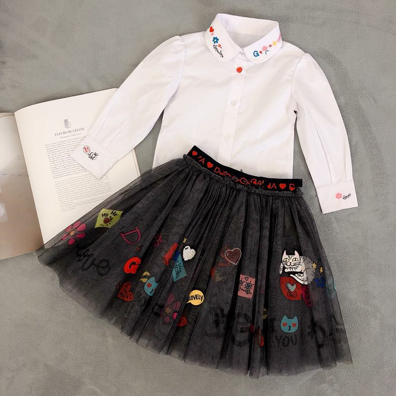 Baby girl tutu skirt embroidery cat pattern skirt tutu cute high quality skirt for kids red cute high waisted leather mini skirt