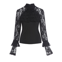 Vintacy Sexy Lace Blouse Women Fashion Black See Through Long Sleeve Pleated Ruffles Shirts Tops Spring