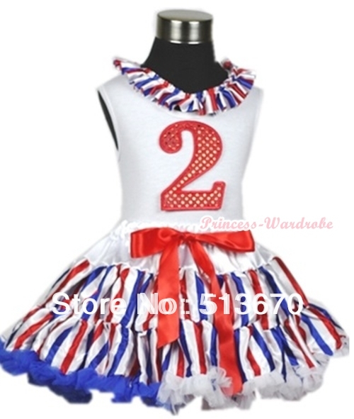 White Tank Top With Red White Blue Striped Satin Lacing 2nd Sparkle Red Birthday Number Red White Blue Stripe Pettiskirt MAMG615 xmas white tank top 2nd sparkle red birthday number with red snowflakes ruffles