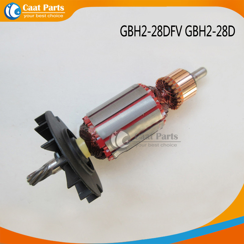 Free shipping! AC 220V 7Teeth Drive Shaft Electric Hammer Armature Rotor for Bosch GBH2-28DFV GBH2-28D free shipping replacement hammer intermediate shaft spline shaft for bosch gbh2 24 gbh4dfe gbh4dsc hammer accessories