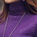 2016 женщин тонкий средней длины свитер утолщение Плюс бархат свитер Чистая пряжи свитер шаблон