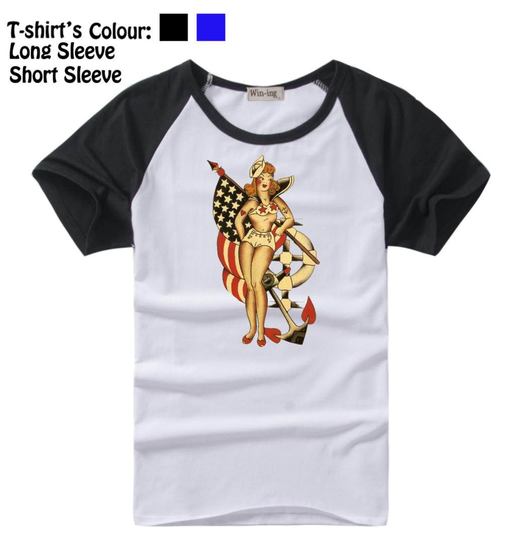 Sailor Jerry Tattoo Vintage Retro Anchor Usa Flag Pattern