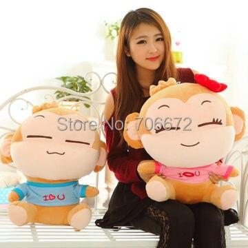 Livraison gratuite, grande 60 cm une paire aime les singes en peluche jouet yoyo et cici singe poupée cadeau de noël d7067
