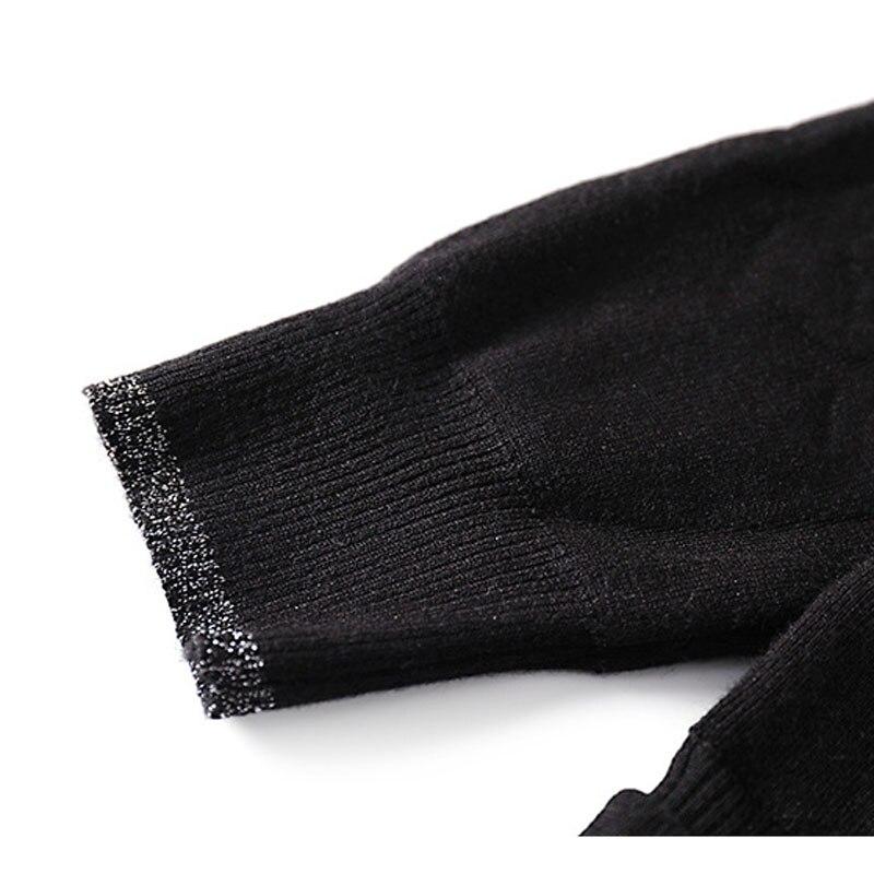 Faux Moulante Haute Printemps A ligne Taille K078 Deux 2019 Patchwork Stand D'été Noir Maille Élégante Col Robe Piece Nouveau Femmes Mince TWTrPv7qYw
