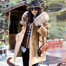 Casacos Inverno 2016 Women Winter Fashion Natural Raccoon Fur Collar Wool Coat Thickeninf Female Overcoat Casaco Feminino A1353