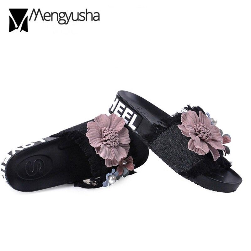 Mujer De Black Denim Zapatos Flip C270 Jeans Plataforma pink Carta Blue Blue Verano Marca Playa 3d dark light Flops Slides Ladies white Floral Impresión Flor dIzUzqw