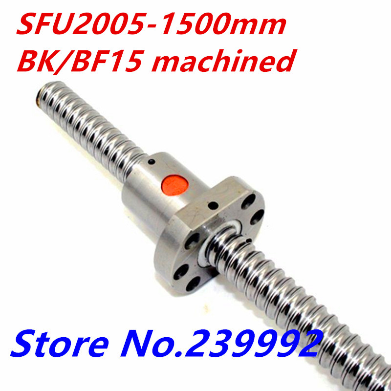 Free shipping SFU2005 1500mm Ball Screw L1500mm Ballscrews Ball Nut for CNC XYZ with BK BF15
