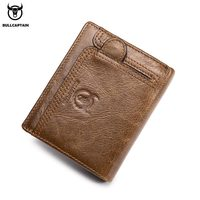BULLCAPTAIN 2018 New Arrival Mens Wallet Cowhide Coin Purse Designer Brand Wallet clutch leather wallet man wallets and purses