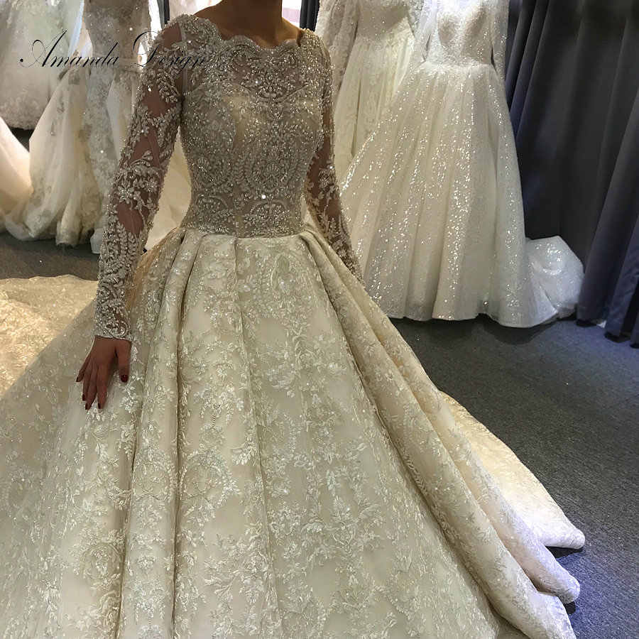 robe de mariee princesse de luxe Hot Sale Customized Rhinestones Crystal Full Sleeve Wedding Dress