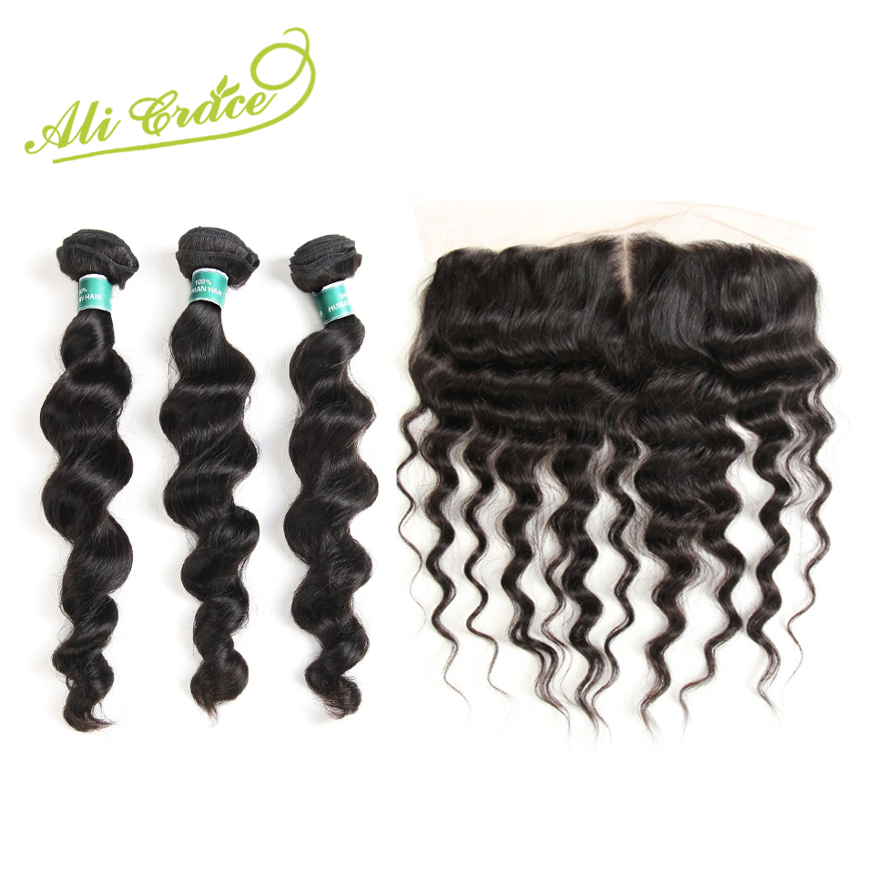 Ali Grace Hair Cambodian Loose Wave With Frontal 3 Bundles With 13 4 Free Middle Part