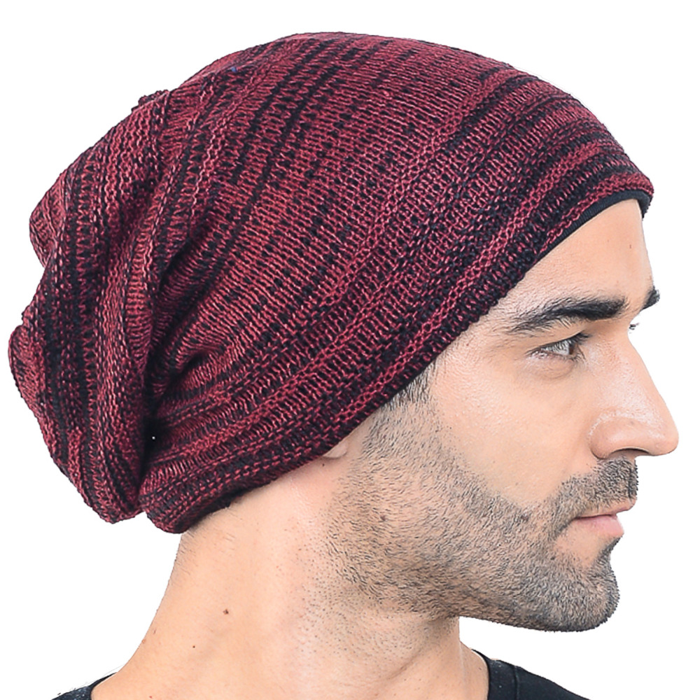 HISSHE Winter Mens Classic Slouchy Knitted Beanie Casual Striped SkullCap  High Quality Large Soft Hat-in Skullies   Beanies from Apparel Accessories  on ... 7030c352f