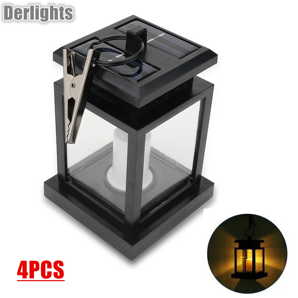 4pcs Led solar light lamp led candle lantern patio chandelier hanging garden light with clip outdoor lighting one light frosted glass antique rust hanging lantern