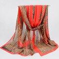 Scarf Women Vintage Flower Print Chiffon Silk Scarves India Ladies Scarf Brand Designer Echarpe bufandas mujer Wholesale