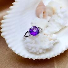 Shilovem 925 стерлингового серебра капелек пьезоэлектрического кольцо с аметистом изысканные украшения с растительным узором женские модные открытые классические подарок 8*8 мм mj0808288agz
