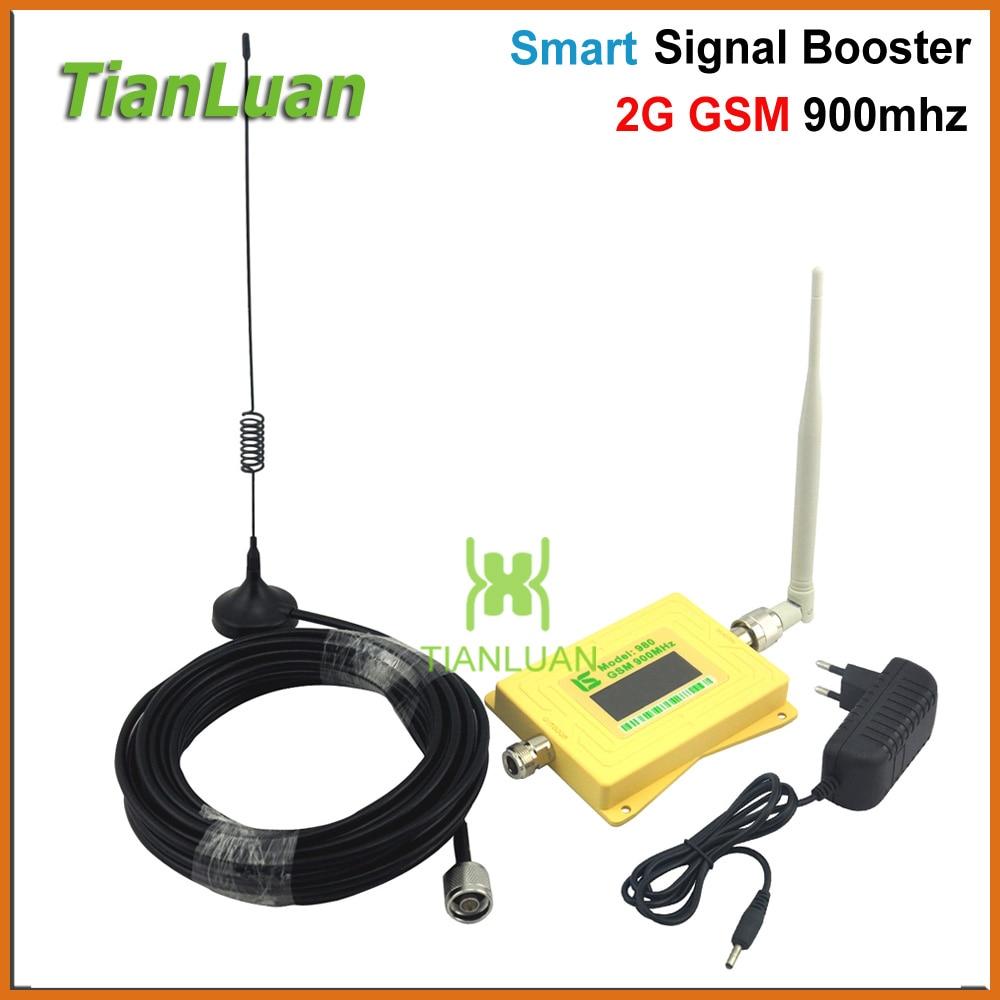 Mini Smart GSM980 Cellulaire Téléphone Signal Booster 2g GSM 900 mhz Répéteur de Signal GSM Booster avec Antenne Fouet/ sucker Antenne Jaune