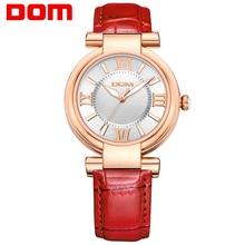 DOM mujeres estilo marca de lujo a prueba de agua de cuarzo relojes mujeres de moda de cuero reloj 2016 reloj