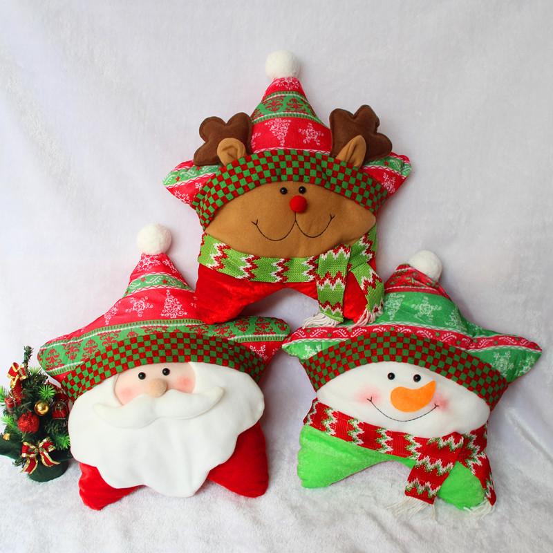 tres opcional de la novedad estrella de navidad almohada almohadas de peluche muecas juguetes de peluche