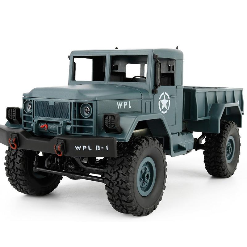 WPL B-1 1:16 Mini tout-terrain RC militaire GAZ camion quatre roues motrices/Suspension en métal faisceau/LED lumineuse pour enfants cadeaux d'anniversaire