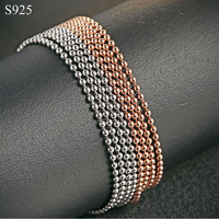 Long Beed Chain Necklace For Men Women Genuine Real Pure Solid 925 Sterling Silver Male Female