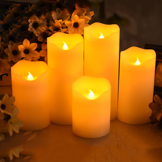 Flameless Candle With Led Light For Party Decoration Made By Paraffin Wax Christmas
