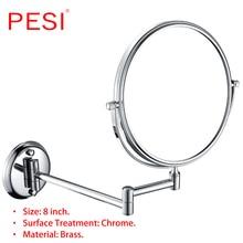 Brass Bath Mirror 1X/3X Magnification Wall Mounted Adjustable Makeup Mirror Dual Arm Extend 2-Face Bathroom Mirror, Chrome. стоимость