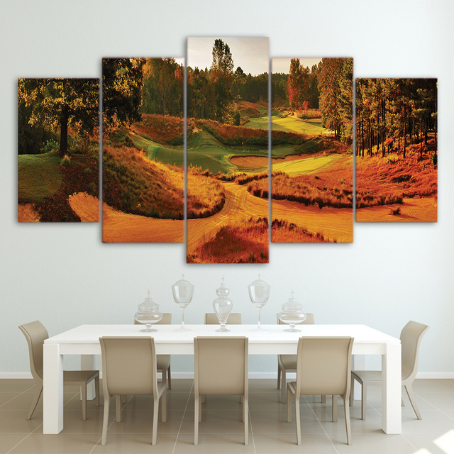 Canvas Home Decor Frame Wall Art Pictures 5 Pieces Autumn Golf Course  Landscape Painting Room HD