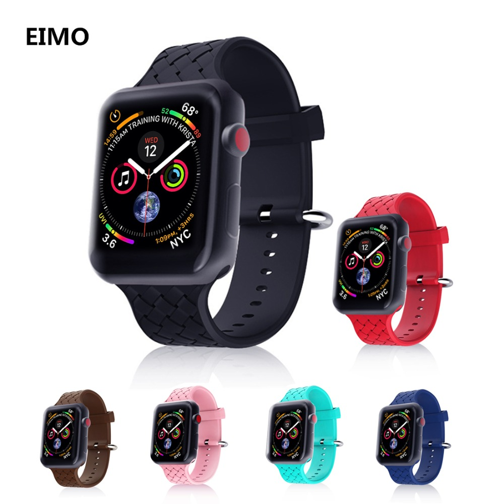 Sport Silicone strap For Apple watch band 4 44mm 40mm correa aple watch 42mm/38mm iwatch 4/3/2/1 bracelet wrist belt Watchband for apple watch band 4 44mm 40mm leather strap correa 42mm 38mm bracelet wrist watchband iwatch series 4 3 2 1 replacement belt