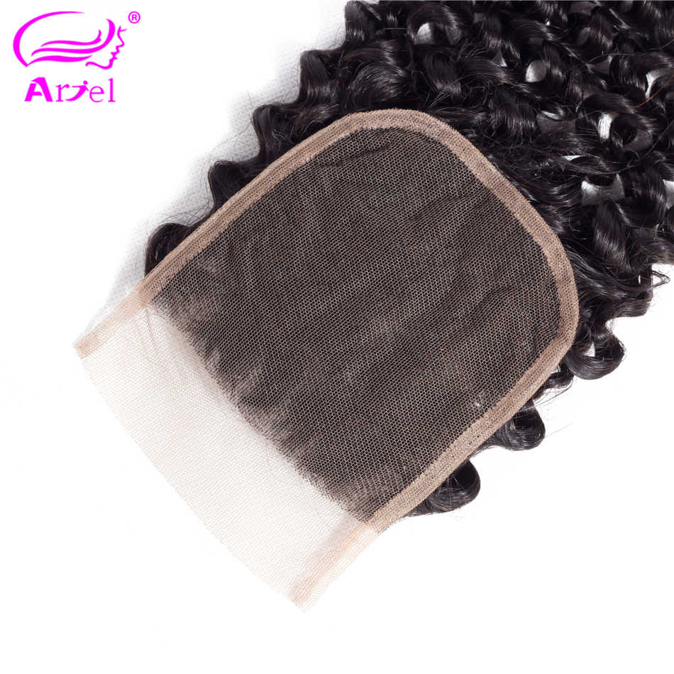 Ариэль перуанская глубокая волна Кружева Закрытие 4x4 человеческих волос глубокая кудрявая закрытие свободный Средний три части закрытие не Реми натуральный цвет