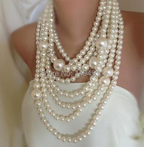 Excellent Wholesale Pearl Jewelry Bold Chunky Multi Strand Statement Pearl  HI79