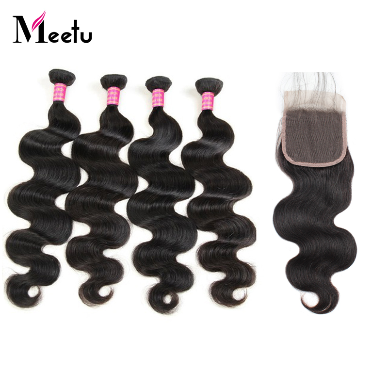 Meetu Hair 4 Bundles With Closure Brazilian Body Wave Human Hair Lace Closure With Baby Hair
