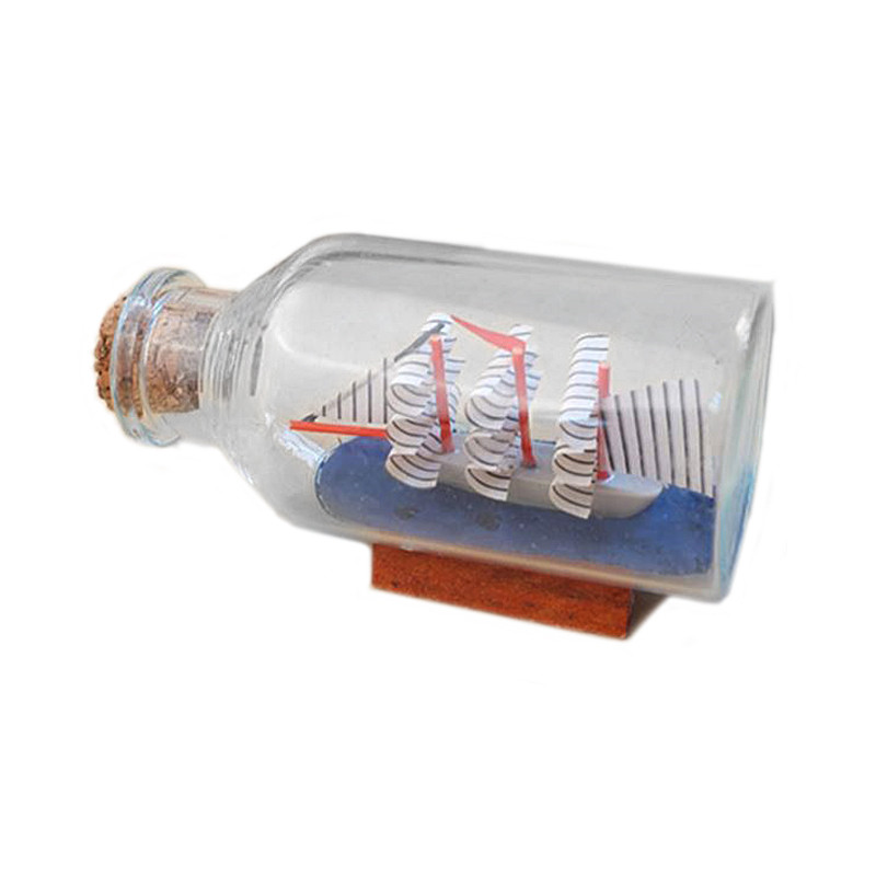 Mini Sailing Boat Drift Bottle Charm Small Cork Glass Home Decor Miniatures Mediterranean Style P2 Бутылка