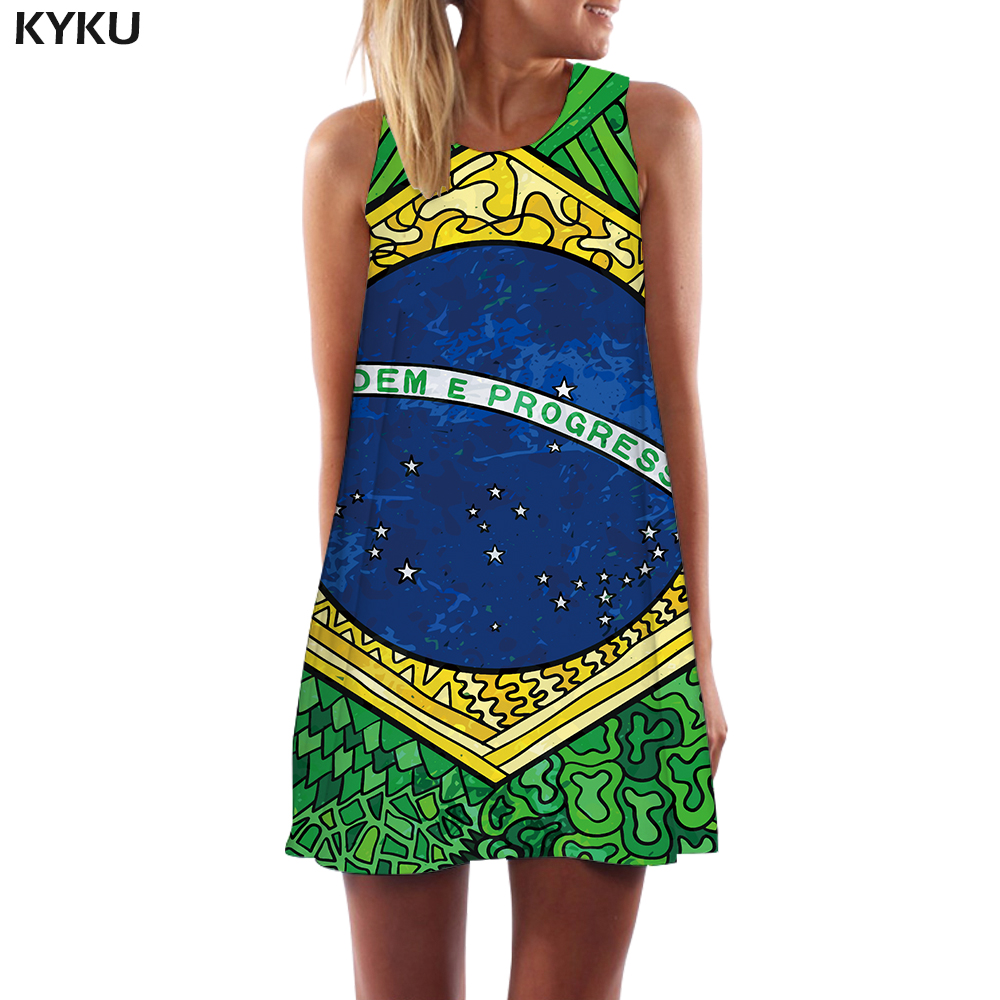 KYKU Brand Brazilian Flag Dress Women Brazil Office Harajuku <font><b>3d</b></font> Print <font><b>Cartoon</b></font> Party Vintage Vestido <font><b>Sexy</b></font> Womens Clothing Summer image