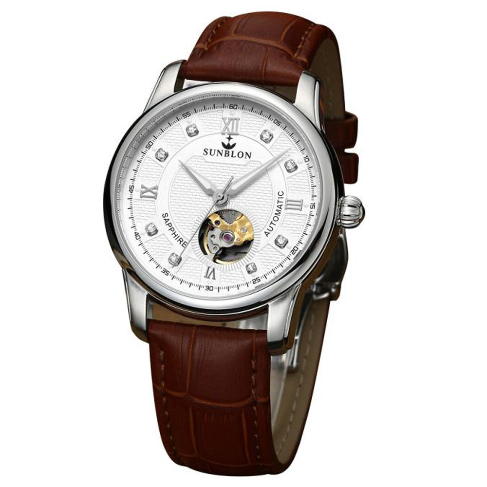 New 2017 Sapphire Crystal Dial Window Water Resistant Men's Automatic Mechanical Watch With Leather Band #0909