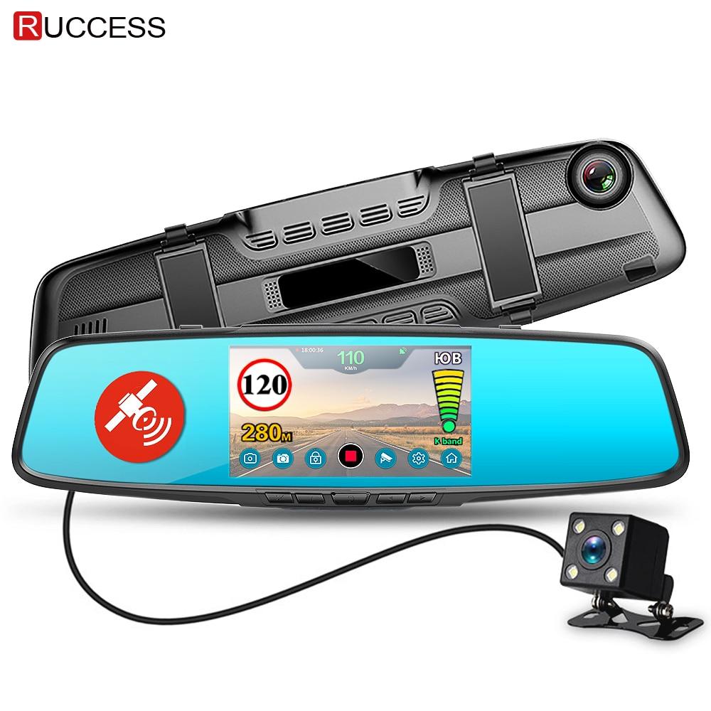 Ruccess Автомобильный dvr 3 в 1 зеркальная камера gps Радар детектор авто видео рекордер Full HD 1080p Dash камера двойной объектив заднего вида камера